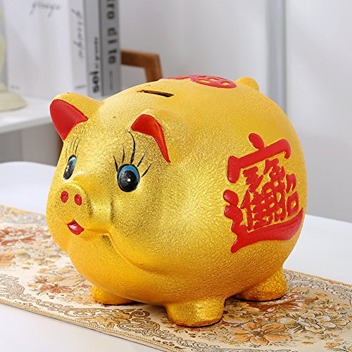 QIHUDEBHF Ceramic golden pig piggy bank Extra large cartoon money box for adult Children Living room decoration-A by QIHUDEBHF