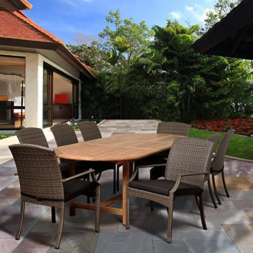 International Home Miami SC DIANOVAL-8SANI GR-GR Sam 9 Piece Teak & Wicker Extendable Oval Dining Set with Grey Cushions ()