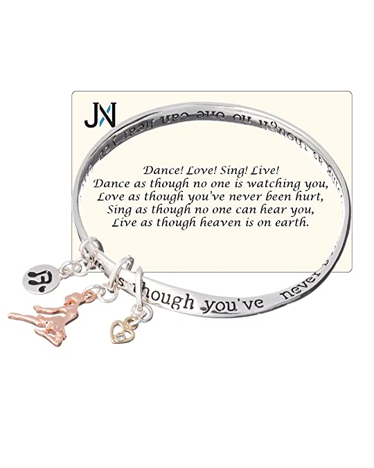 Amazon Dance Charm Twist Love Sing Live Heaven Bracelet Inspirational Card By Jewelry Nexus Bangle Bracelets