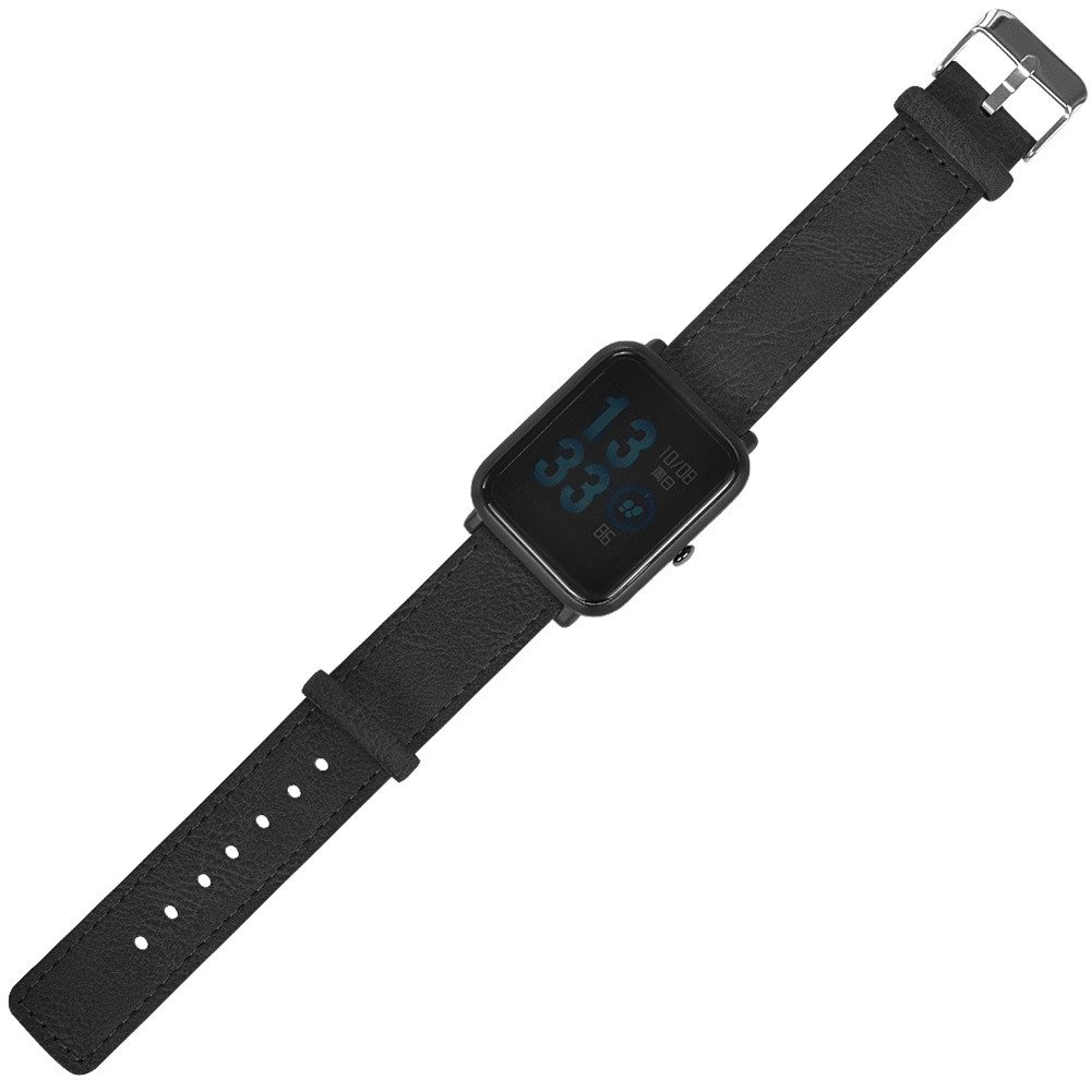 Compatible Xiaomi Huami Amazfit Bip Youth Watch Band Retro Leather Replacement Strap Replacement Bands for Huami Amazfit Bip Youth Watch, TLT Retail (Black) by TLT Retail (Image #4)