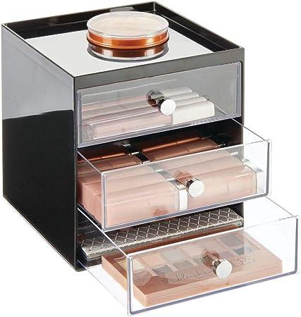 mDesign Organizador de maquillaje – Cajas de belleza con 3 cajones para sombra de ojos, labiales y más – Cajonera de plástico para organizar maquillaje en el baño – negro/transparente: Amazon.es: Hogar