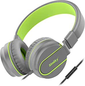 Kids Headphones for School Children- SIMILKY Stereo Tangle-Free 3.5mm Jack Wired Cord On-Ear Headset for Children 8-15 years old (ORIGINAL/GREEN)