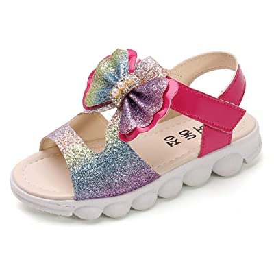 Mousmile Kids Girl Summer Strap Sandals PU Leather Bowknot Flat Sandal Open Toe Casual Lawn Cute Unicorn Rainbow Shoes: Clothing