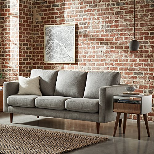 "Rivet Revolve Modern Upholstered Sofa Couch, 80""W, Grey Weave"