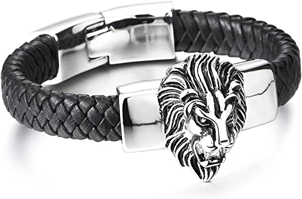 COOLSTEELANDBEYOND Vintage Stainless Steel Mens Wolf Head Bracelet Black Genuine Braided Leather Bangle Wristband