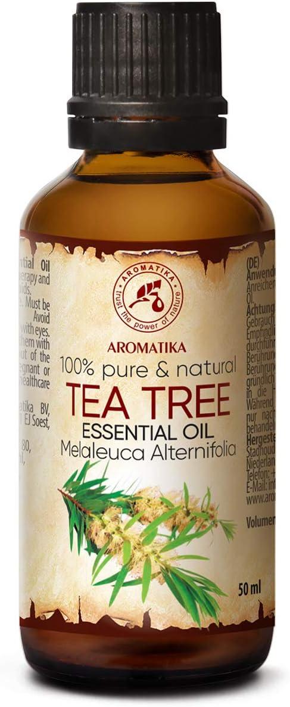 Aceite Esencial de Arbol de Té 50ml Botella - Australia - 100% Puro y Natural - Ideal para la Belleza - Aromaterapia - Difusor - Lámpara de Aroma - Cosméticos - Tea Tree Essential Oil