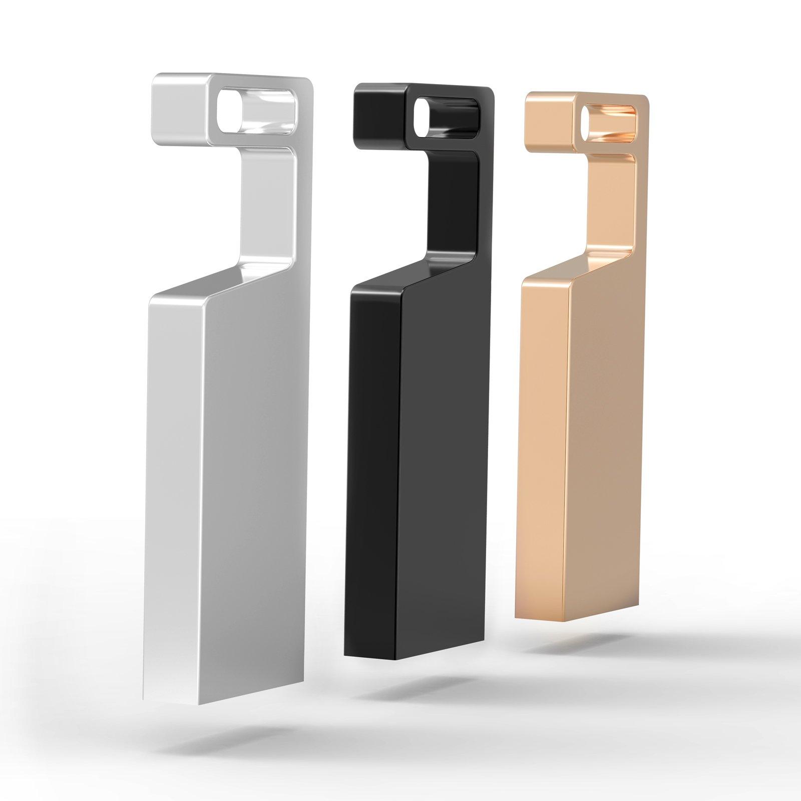 KEXIN 3pcs 32GB USB 3.0 Flash Drives Waterproof Metal Memory Stick Mobile Phone Holder Design USB Drive Thumb Drive (3 Mixed Colors: Black Gold Metallic)