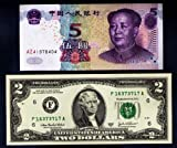 5 CHINESE YUAN BANK NOTE & $2 U.S.A DOLLARS BANK NOTE TWO UNITED STATES