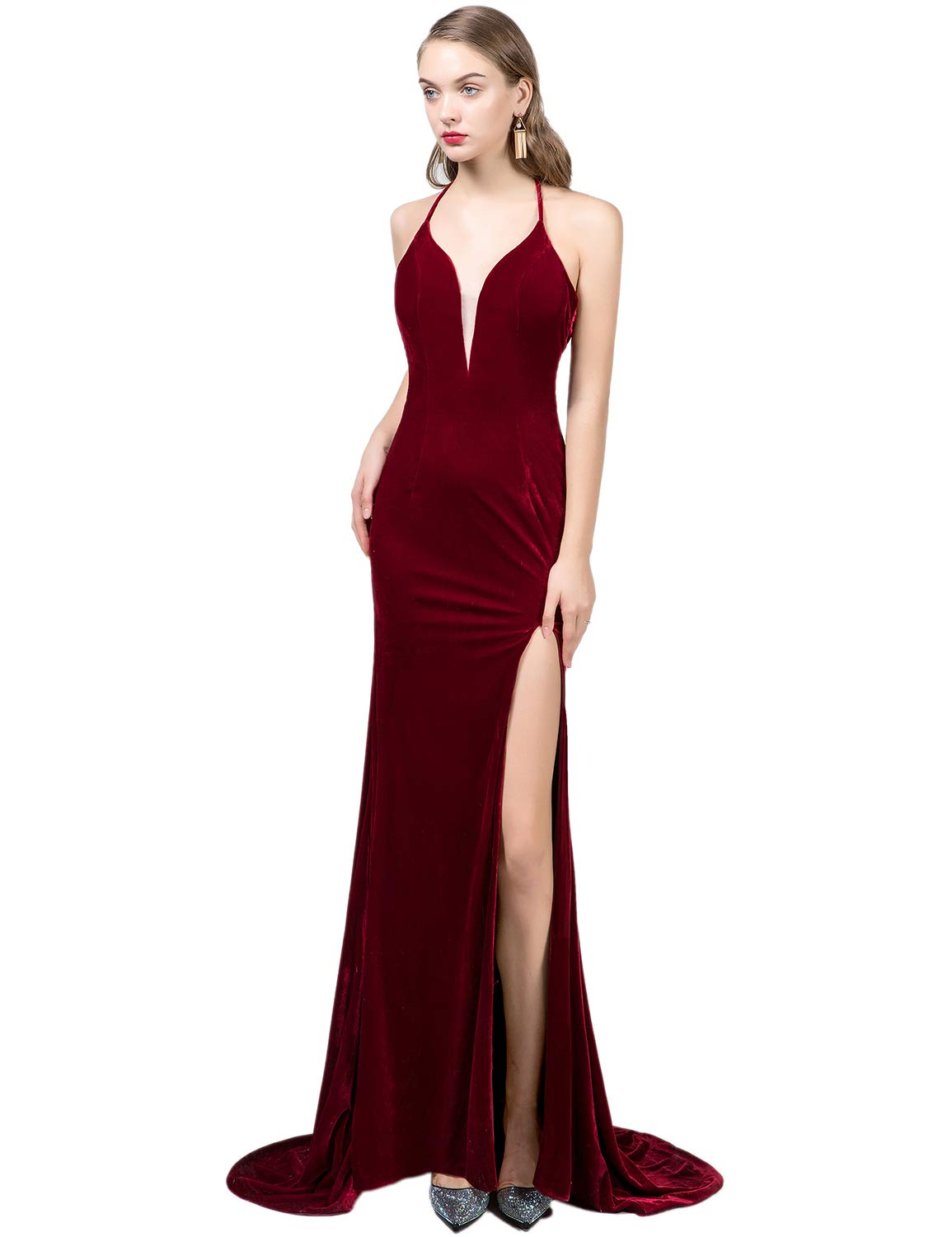 9376e17c99 Sexy Plus Size Evening Dresses 2019 Halter Prom Dress for Women Velvet  Empire Waist Split Side Formal Ball Gown Christmas Dresses MSH045 Burgundy  Size ...