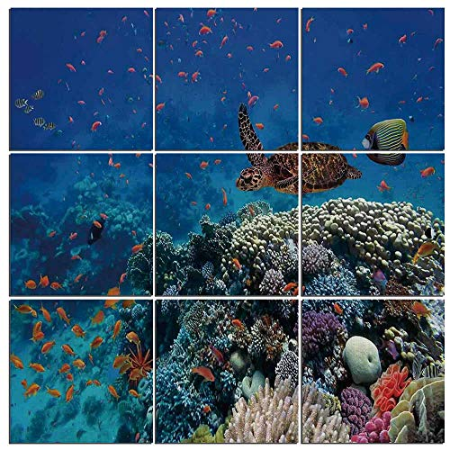 9 Pc Wall Art Set Ocean Decor,Exotic Fish and Turtle in Fresh Water on Stony Corals Bio Diversity Wild Life Photo 9 (Diversity Poster Pack)