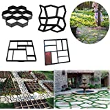 Garden Walk Maker Mould Gardening 8/9 Grids Pathmate Stone Mold Paving Concrete Stepping Pavement Paver By Makaor (Model G=Grid:30x 30 x 4 cm, Black)