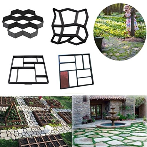 Garden Walk Maker Mould Gardening 8/9 Grids Pathmate Stone Mold Paving Concrete Stepping Pavement Paver By Makaor (Model G=Grid:30x 30 x 4 cm, Black) (Concrete Steps Patio)