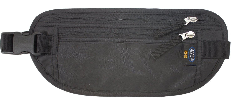 Alpsy Travel Wallet RFID-Blocking Money Belt Secure Waist Pack Pouch Black