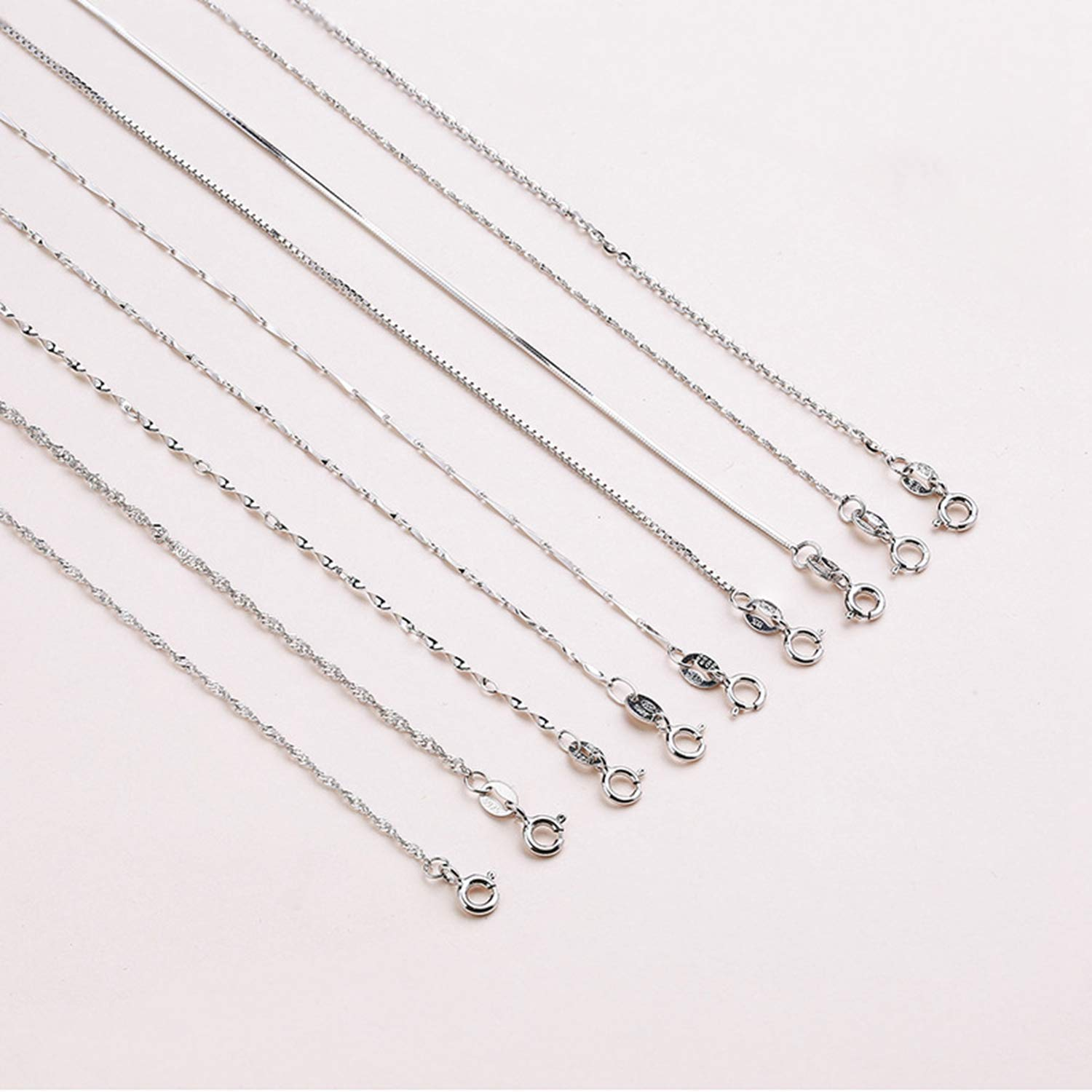 Genuine Sterling Silver Water-Wave Chain For Woman 40Cm//45Cm Chain Necklace