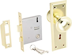 U ULTRA HARDWARE 44609 Brass Old Time Mortise Interior Set Door Lock, 0.6 x 7.5 x 7.8 inches (3)