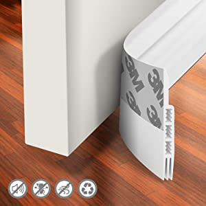 "Holikme Door Draft Stopper Under Door Draft Blocker Insulator Door Sweep Weather Stripping Noise Stopper Strong Adhesive White 39"" Length"
