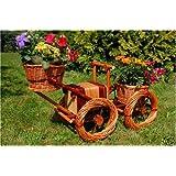 Deko-Shop-Hannusch Tracteur décoratif en rotin avec espaces d'installation pour jardinières