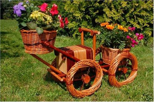 Bagger, Traktor aus Korbgeflecht, Rattan, Weidenkörbe, bepflanzen möglich, Pflanzkorb, Blumentopf, Blumentöpfe, Pflanzkübel, Pflanztrog, Pflanzgefäß, Pflanzschale, Pflanzkasten, Übertopf, 80 cm