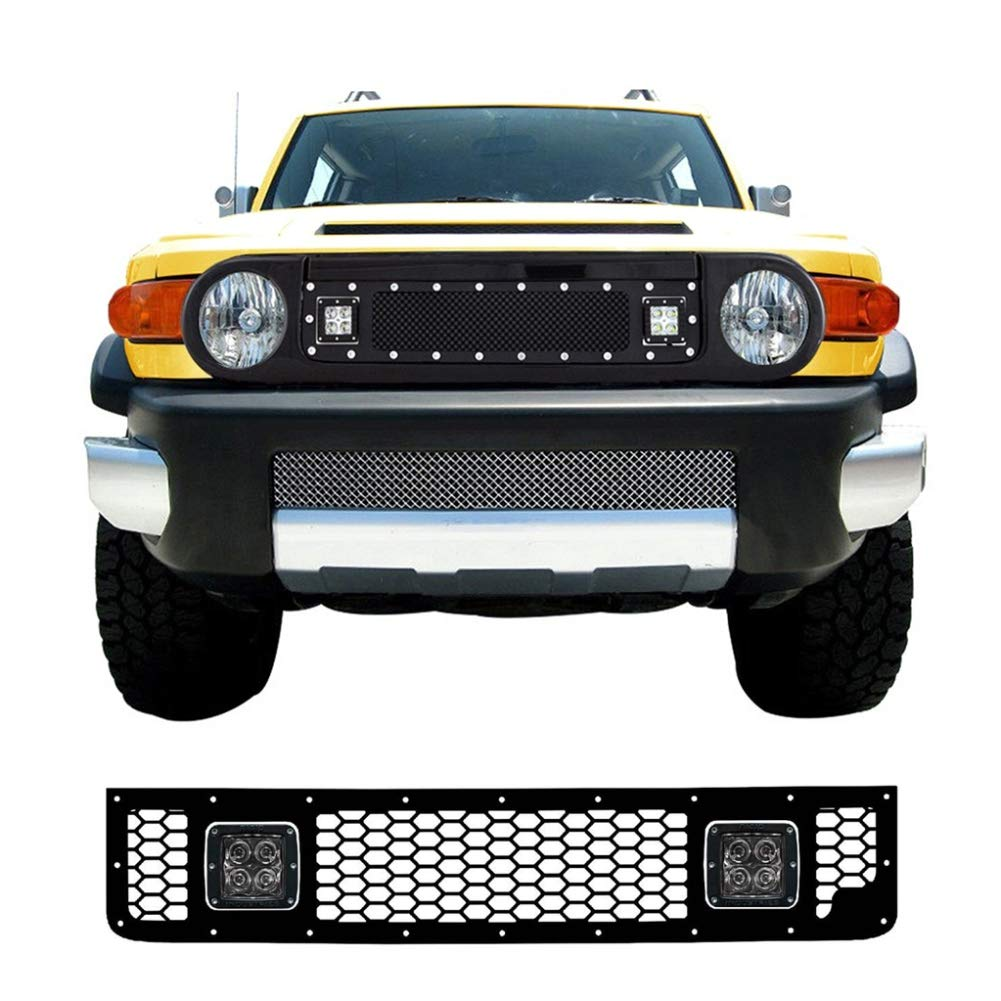 Upper Grille Kit for 2005-2014 Toyota Fj Cruiser with 20W 3 Inch CREE LED Work Light Insert Main Grille Jubatus