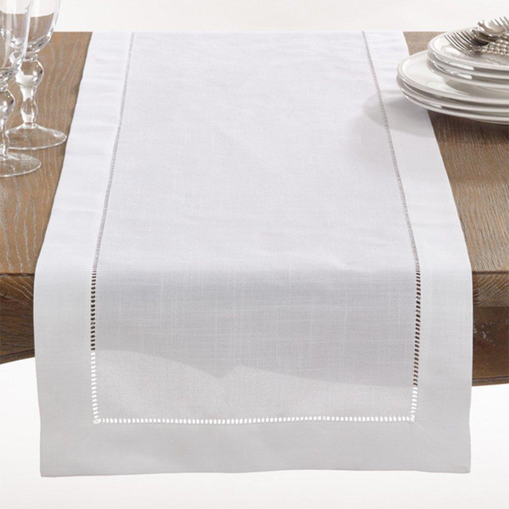 16x120 Table Runner Fennco Styles Handmade Basic Hemstitch Border Linen-Cotton Tablecloth