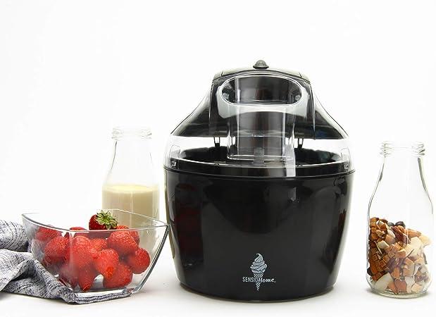 Máquina de helados Sensio Home - Máquina de sorbetes para helados Máquina de yogurt congelado Paleta mezcladora desmontable - Fácil de operar - Incluye recetas extra de libros electrónicos (Negro): Amazon.es: Hogar