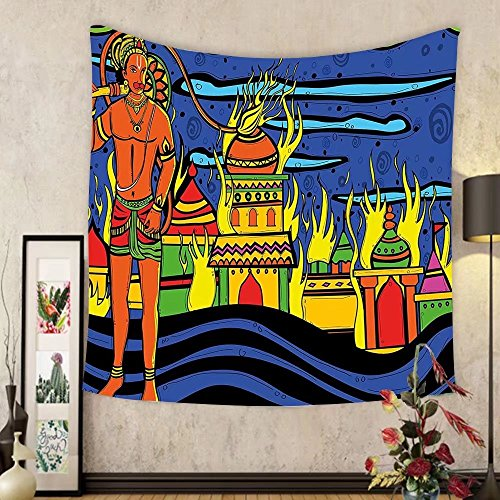 Gzhihine Custom tapestry Psychedelic Tapestry Ethnic Spiritual Faith Prince Eastern Tribal Ancient Oriental Bohemian Image for Bedroom Living Room Dorm Orange Blue by Gzhihine
