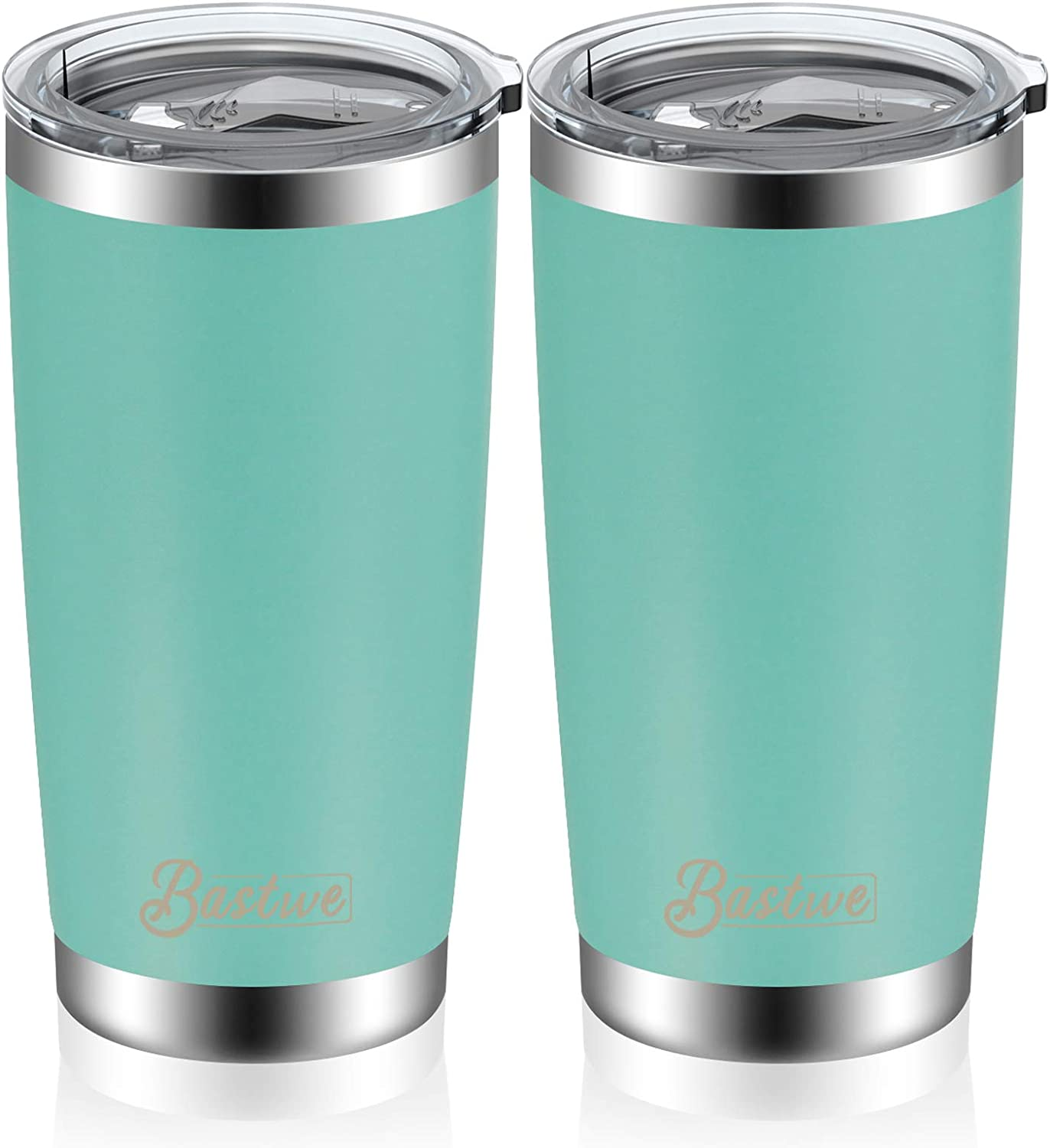 Office 2 Pack, Black School Bastwe Double Wall Vacuum Insulated Travel Mug Coffee Cup for Home Works Great for Ice Drink Hot Beverage 20oz and 30oz Stainless Steel Tumblers with Straws
