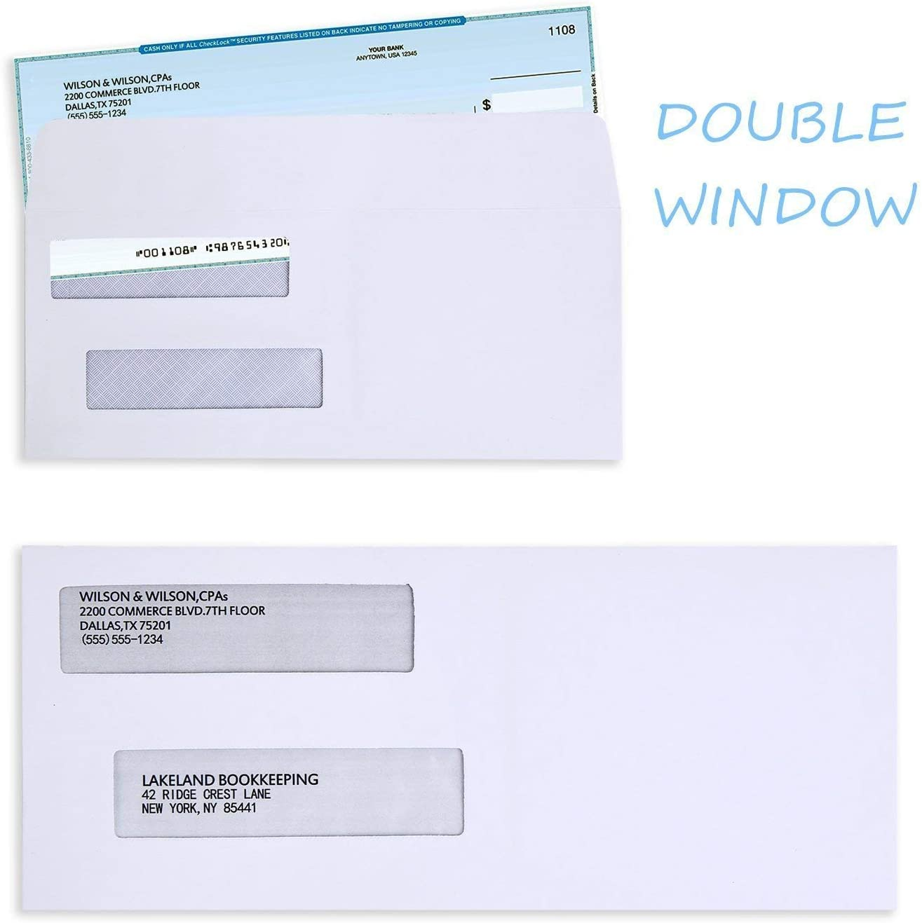 Documents Secure Mailing Ohuhu 500 Pack # 8 Double Window Envelope SELF SEAL Adhesive Tinted Security Envelopes Quickbooks Check A Letter Opener Included Business Check 3 5//8 x 8 11//16 Inches