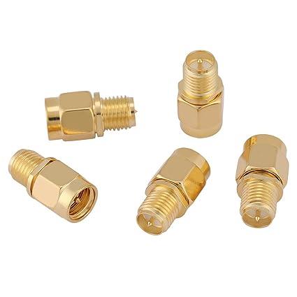 5Pcs Gold Tone SMA Male Plug To RP-SMA Female RF Coaxial ...