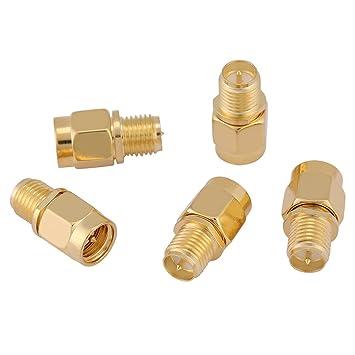 Juego de 5 adaptadores de cable coaxial de tono dorado SMA ...