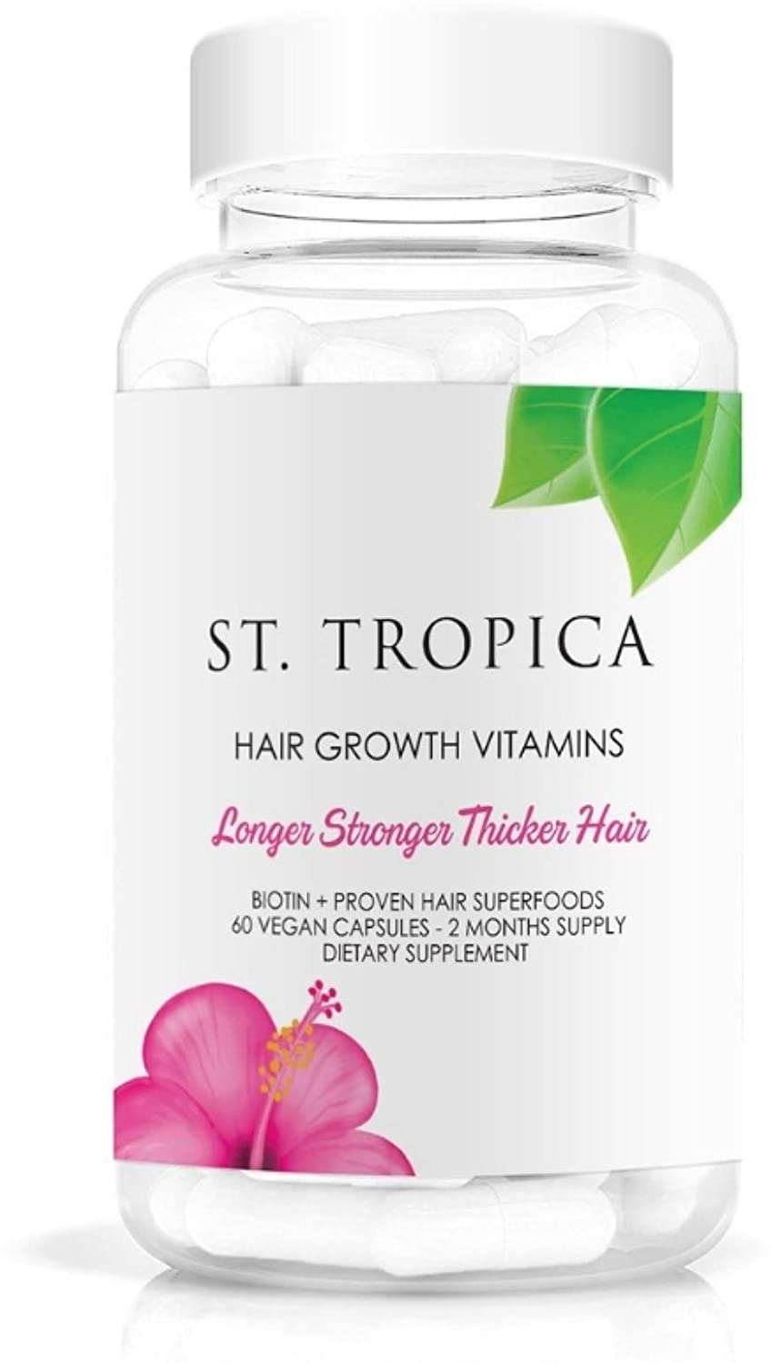 ST. TROPICA Hair Vitamins for Hair Growth Treatment - Superfood Formula Helps Prevent Hair Loss & Thinning, Proteins & Minerals for Longer, Stronger, Thicker Hair - VEGAN - (Acai Berry) 60-Count
