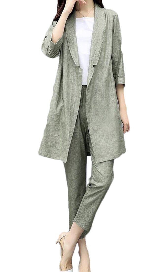 FRPE Women 3/4 Sleeve Linen Cotton Loose Fit Elegant Suit 2 pcs Sets one US S