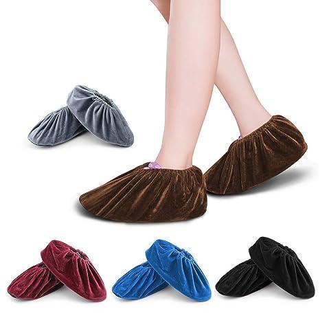 FOCCTS 5Pares Cubrezapatos Antideslizantes Cubiertas Reutilizable Zapatos con Franela para el Hogar, la Oficina y