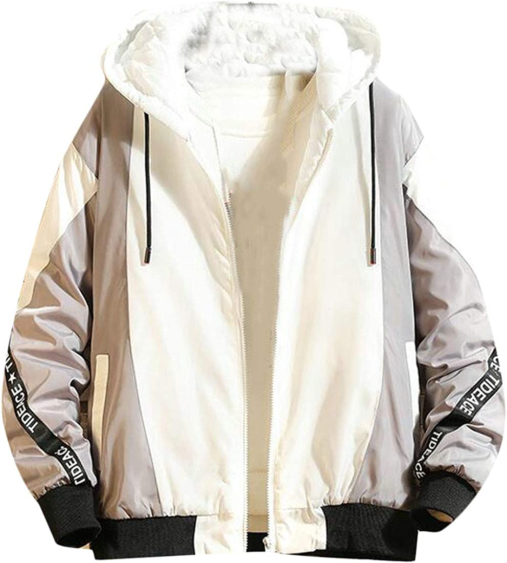 CMCYY Men Fashion Hooded Cotton Padded Thicken Spell Color Parkas Coat
