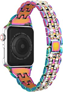 Compatible with Apple Watch Band 38mm 40mm 42mm 44mm for Women, Marge Plus Rhinestone Metal Jewelry Wristband Strap Replacement for iWatch Bracelet Series 5/4/3/2/1