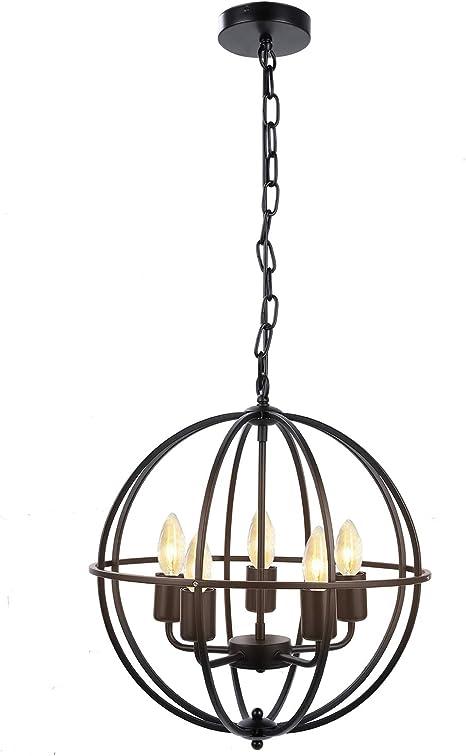 Industrial Vintage Lighting Ceiling Chandelier 5 Lights Metal Hanging Fixture