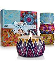 Scented Candles Set, Soy Wax Candle Gift Set for Women Travel Tin Candles for Aromatherapy, Stress Relief, Relaxation, 4 Pack, 4.4oz Each