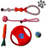 FENGRUIL Dog Toys Set, Pets Gift Set, Cotton Rope Toy, Rubber Toys, Variety Teething Chewing Training Toys for Doggies/Puppy