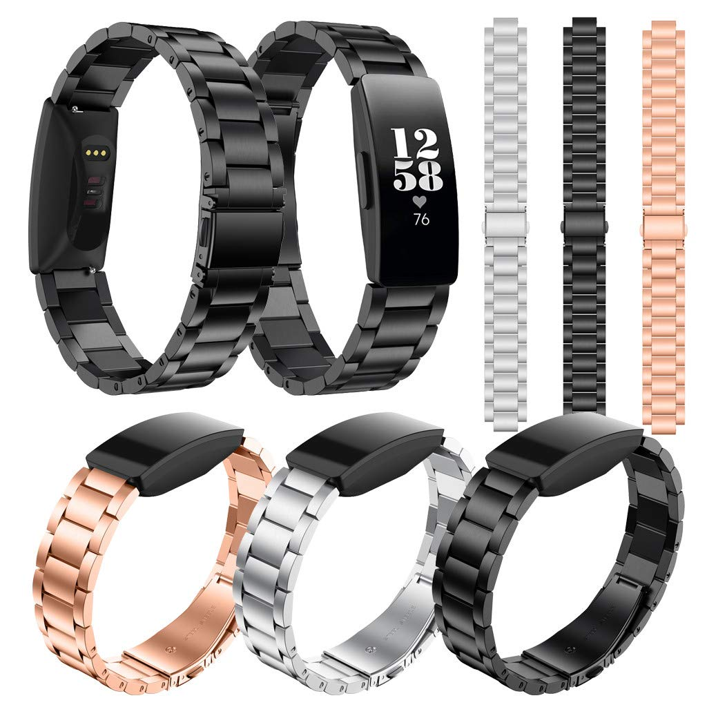 Amazon.com: Smart Watch Band Replacement Solid Stainless Steel Watch Band Wrist Strap for Fitbit Inspire HR & Inspire Banda de reloj inteligente (Black): ...