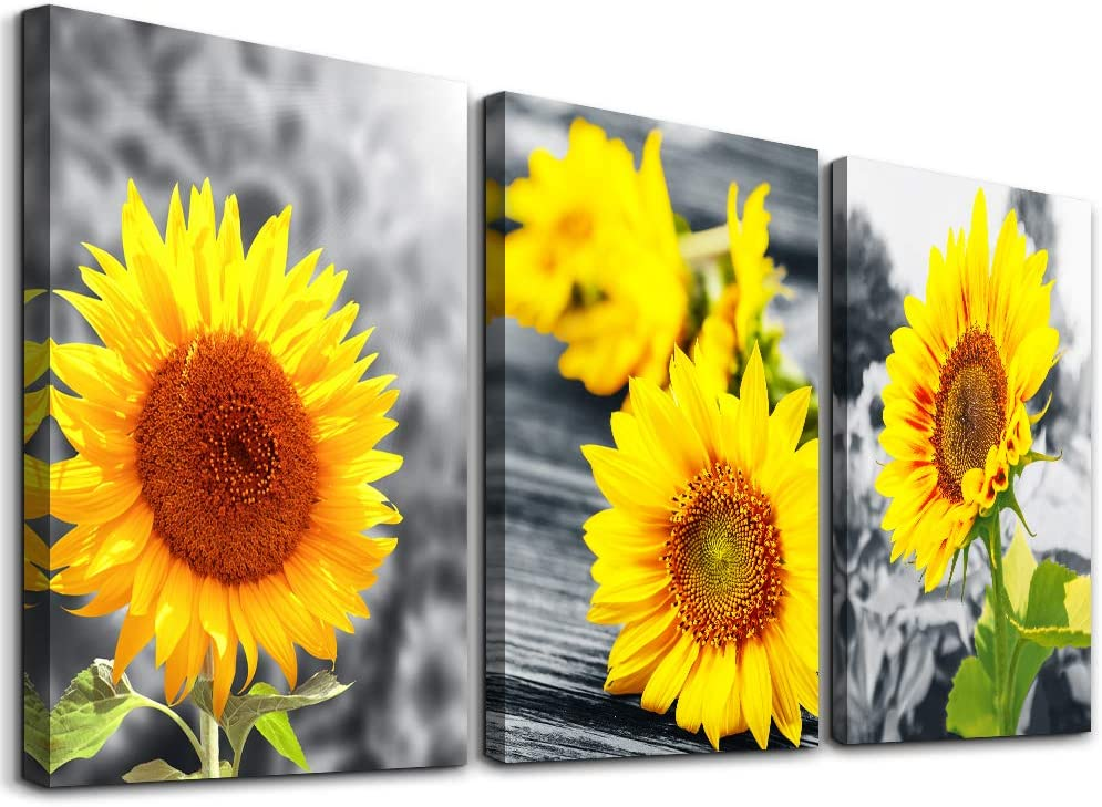 Amazon Com Wall Decorations For Living Room Canvas Art Bedroom Kitchen Decor Yellow Sunflower Flowers Paintings Bathroom Home Decoration 3 Piece Ready To Hang Pictures Artworks