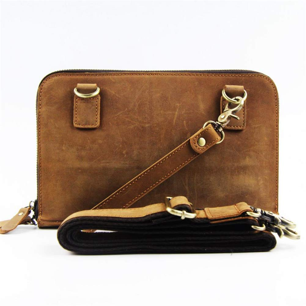 LQUIDE Männer Lässige Multifunktionskupplung Tasche Schulter Diagonal Schultergurt Abnehmbar, Um 7,9-Zoll-Tablet, Bankkarte, Notebook Zu Speichern