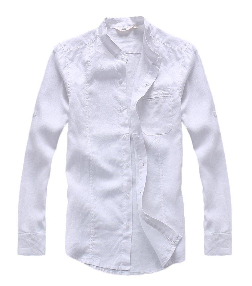 Insun Herren Hemd Mode Stehkragen Einfarbig Langarm Shirts Freizeithemd  Brusttasche: Amazon.de: Bekleidung