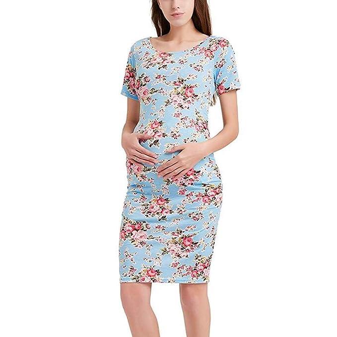 QUICKLYLY Vestido de Lactancia Maternidad Vestido de Noche de Manga Corta Acanalada Lados Rodilla Longitud Vestido