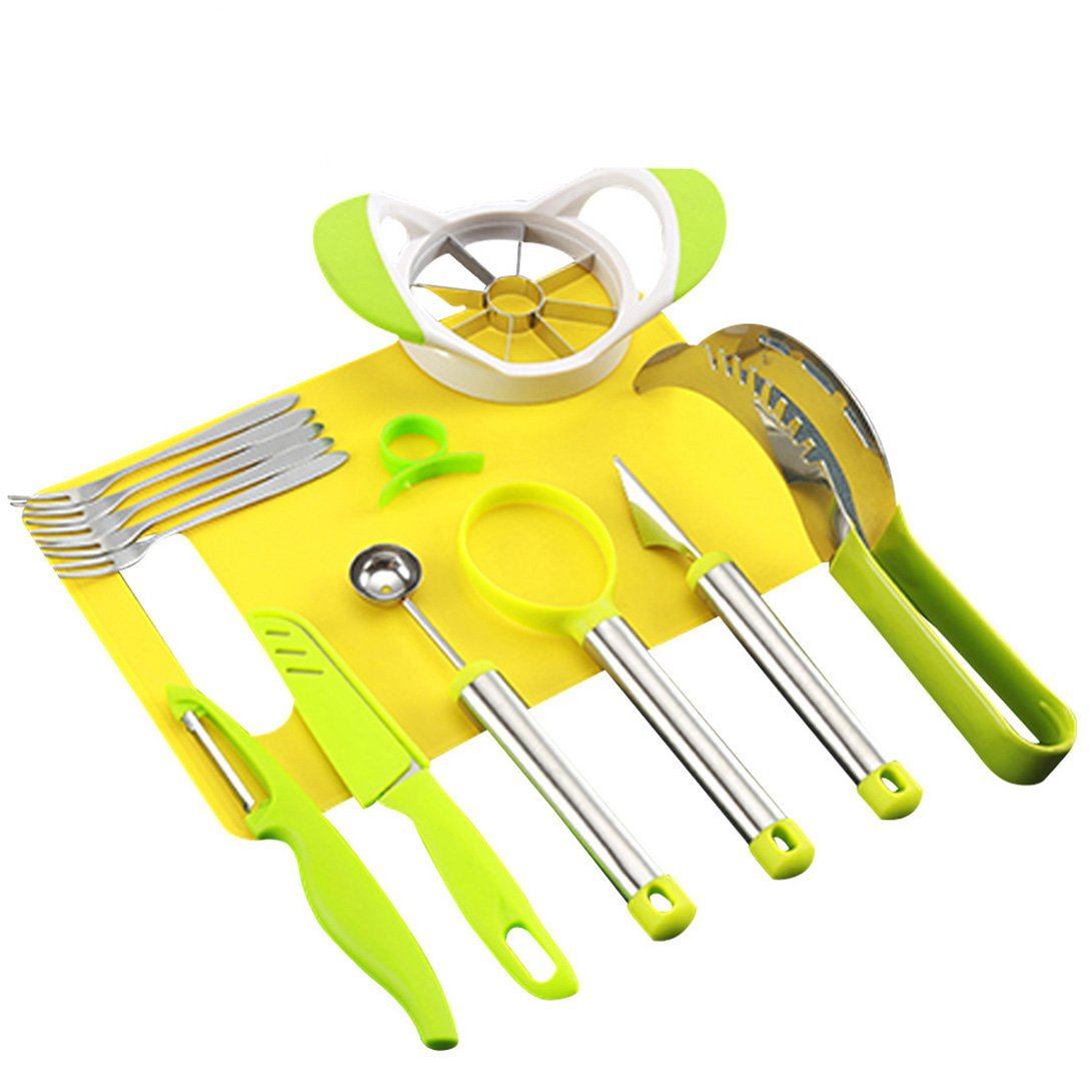 NewFerU Kitchen Fruit Carving Tool Set Garnishing Melon Baller Scoop Spoon Knife Shapes Kit With Apple Cutter Corer, Watermelon Slicer,Citrus Peeler,Forks,Chopping Board and More (10 PCS)