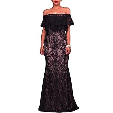 Synker Damen Schulterfrei Blumen Spitzenkleid Bodycon Cocktailkleid  Partykleid lang Abendkleid (Medium, Black) 2c361bed4e
