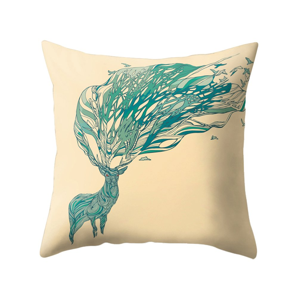 little finger Fashion Deer Antlers Print Peachskin Pillow Case Waist Cushion Cover - 8