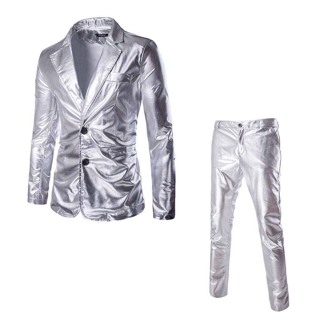iHAZA Blazer Business Wedding Tops Party Bright Surface Suits Custom Mens Slim Suits 2 Piece