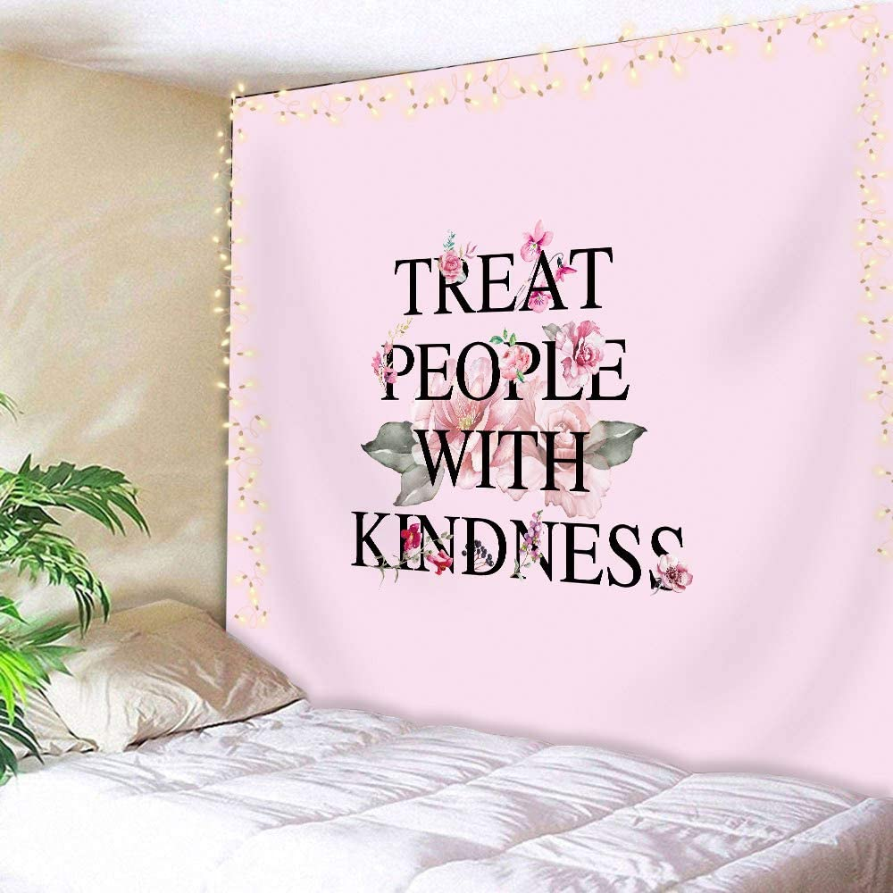 AMBZEK Treat People with Kindness Tapestry Harry Styles Boutique 51Hx59W Retro Positivity Quote Art Wall Hanging Bedroom Living Room Dorm Decor Fabric Pink