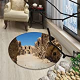 Galaxy Round Rugs for Bedroom One of Abandoned Sets of the Movie Tunisia Desert Phantom Menace Galaxy Wars ThemedOriental Floor and Carpets Brown Blue