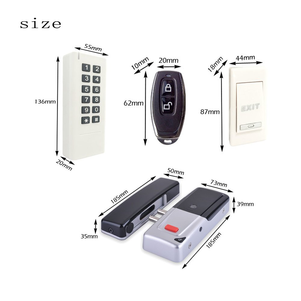 Wireless 433Mhz Access Control Kit Wireless Electric Door Lock RFID Keypad Remote Control Exit Button